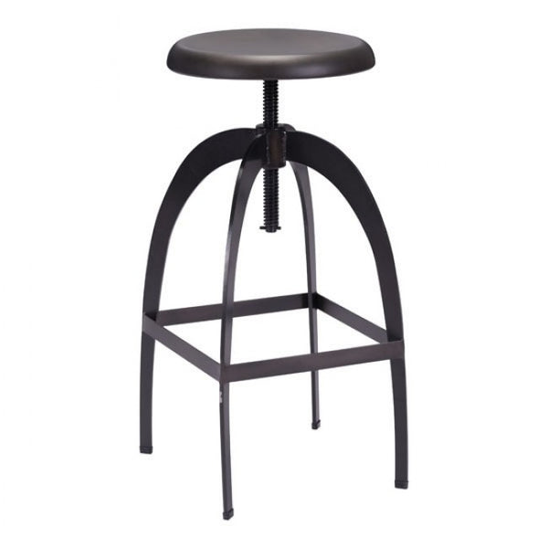 ZUO Modern Aristotle 98186 Barstool Antique Black - Pankour