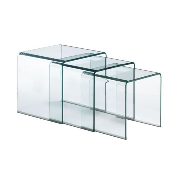 ZUO Modern Explorer 404104 Nesting Table Clear Glass - Pankour