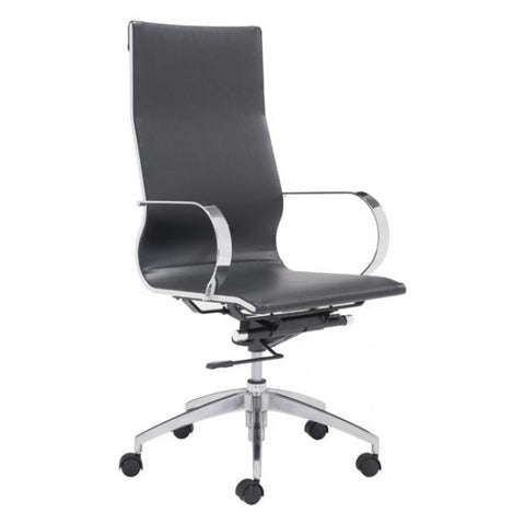 ZUO Modern Glider 100371 Hi Back Office Chair Black