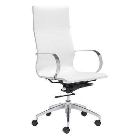 ZUO Modern Glider 100372 Hi Back Office Chair White