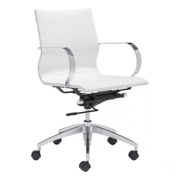 ZUO Modern Glider 100375 Low Back Office Chair White