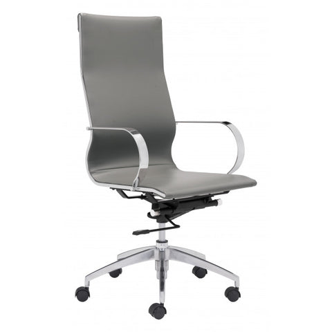 ZUO Modern Glider 100834 High Back Office Chair Gray