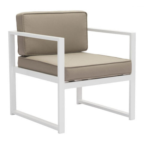 ZUO Modern Golden Beach 703810 Arm Chair White & Taupe