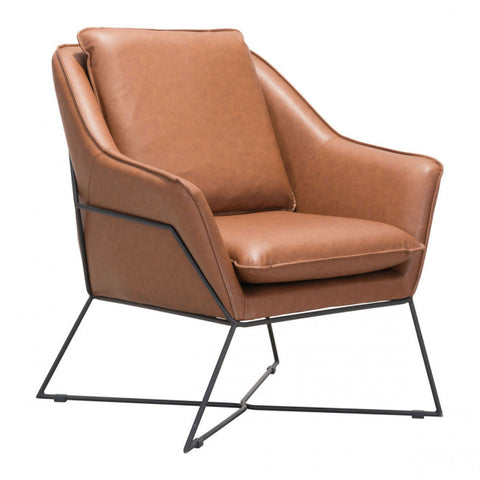 ZUO Modern Lincoln 101002 Lounge Chair Saddle