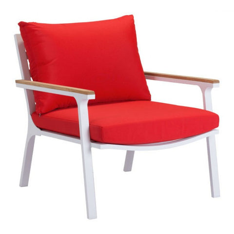 ZUO Modern Maya Beach 703574 Arm Chair Red, Natural & Wht