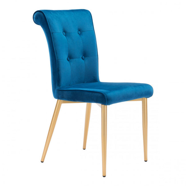 ZUO Modern Niles 101140 Dining Chair Blue Velvet