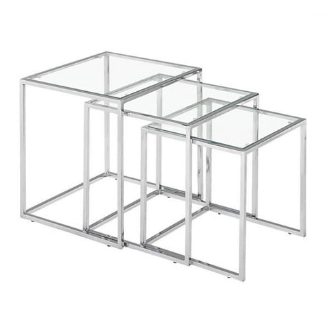 ZUO Modern Pasos 401105 Nesting Table Clear Glass - Pankour