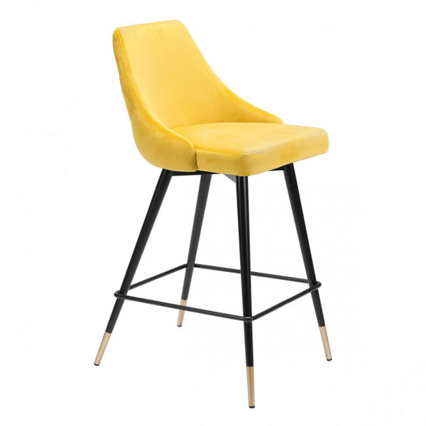 ZUO Modern Piccolo 101095 Counter Chair Yellow Velvet