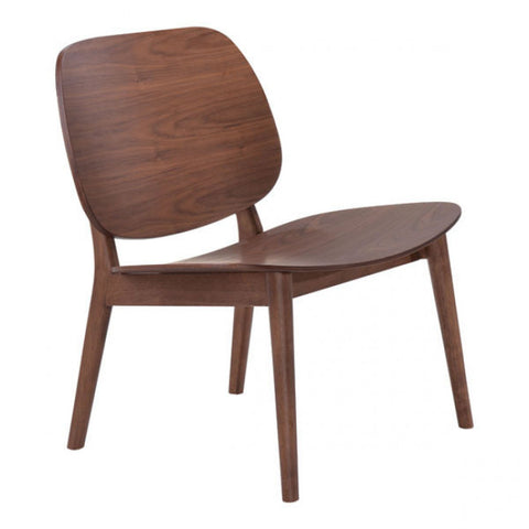 ZUO Modern Priest 100152 Lounge Chair Walnut