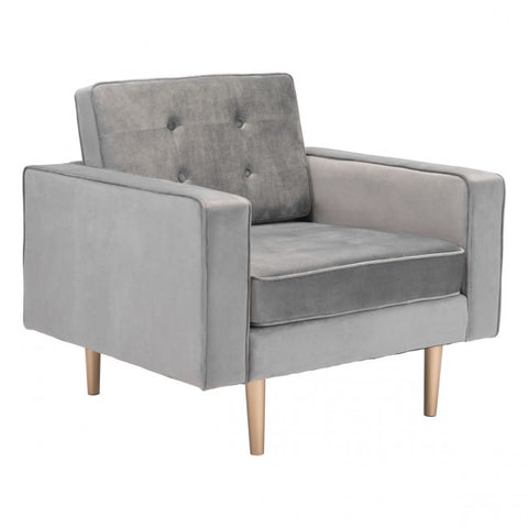 ZUO Modern Puget 101172 Arm Chair Gray Velvet
