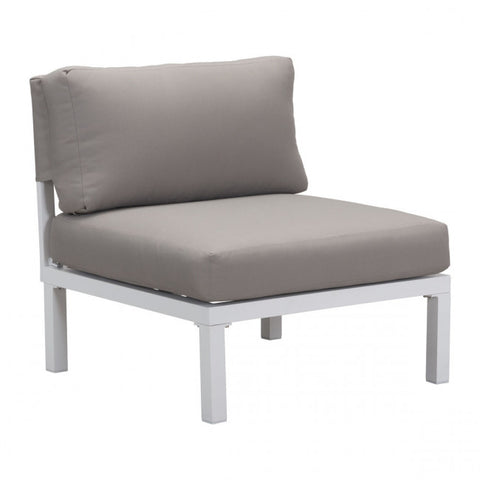 ZUO Modern Santorini 703895 Armless Living Chair Wht & Gry