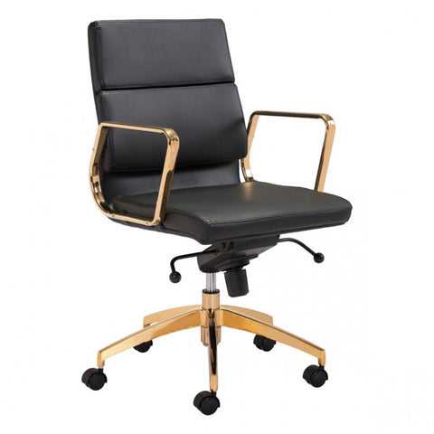ZUO Modern Scientist 101017 Low Back Office Chair Blk & Gd