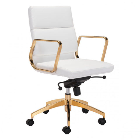 ZUO Modern Scientist 101018 Low Back Office Chair Wht & Gd