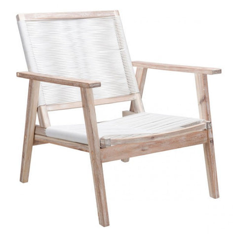 ZUO Modern South Port 703854 Arm Chair White Wash & White