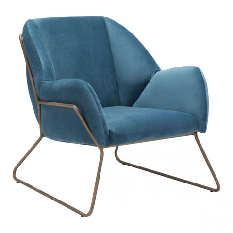 ZUO Modern Stanza 101156 Arm Chair Blue Velvet