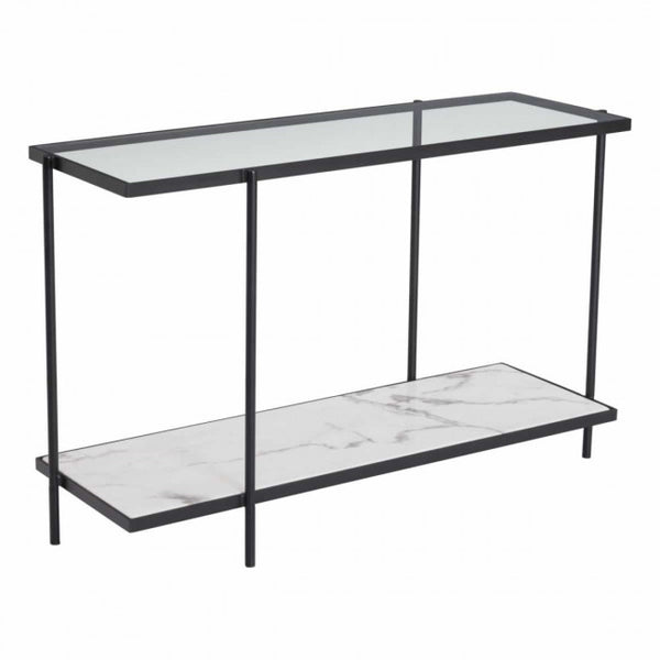 ZUO Modern Winslett 100993 Console Table Clear & White & Matt Black