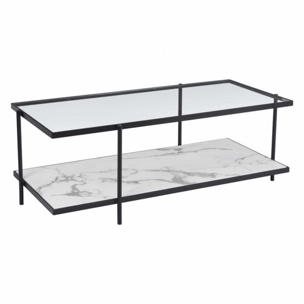 ZUO Modern Winslett 100995 Coffee Table Clear & White & Matt Black