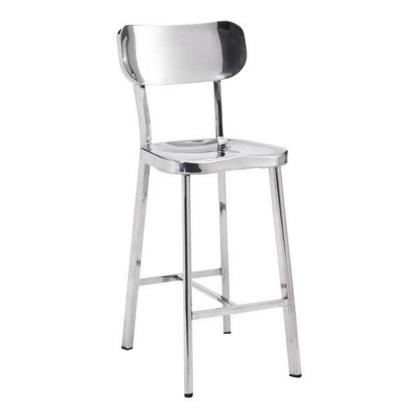ZUO Modern Winter 100302 Counter Chair Stainless Steel