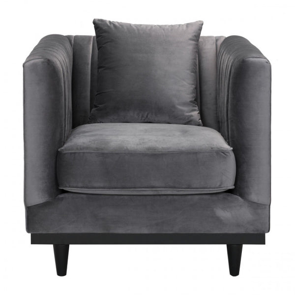Zuo Modern Garland 101045 Arm Chair Gray Velvet - Pankour