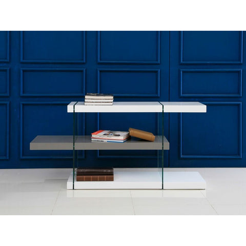 IL VETRO Collection High Gloss White/Gray Lacquer  Bookcase by Casabianca Home - Pankour