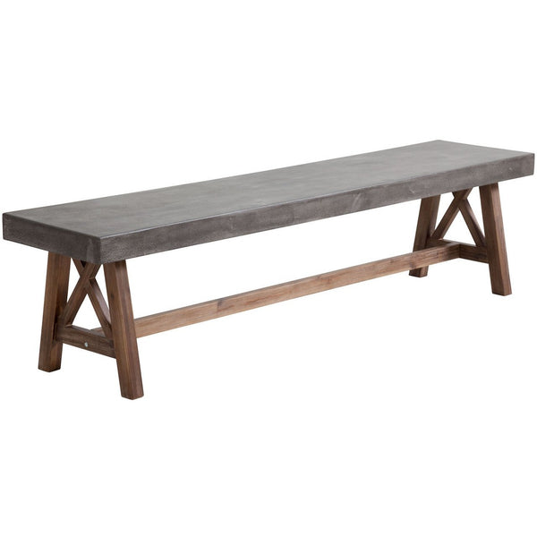 ZUO Modern Ford Bench Cement & Natural 703595 Dining Benches - Pankour