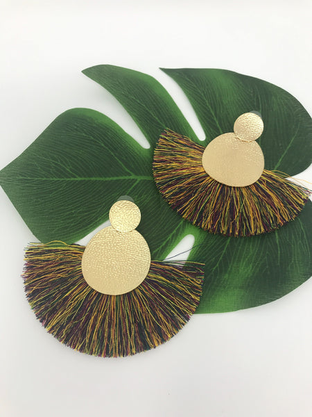 Gold Textured Round Fan Tassel Drop Earrings