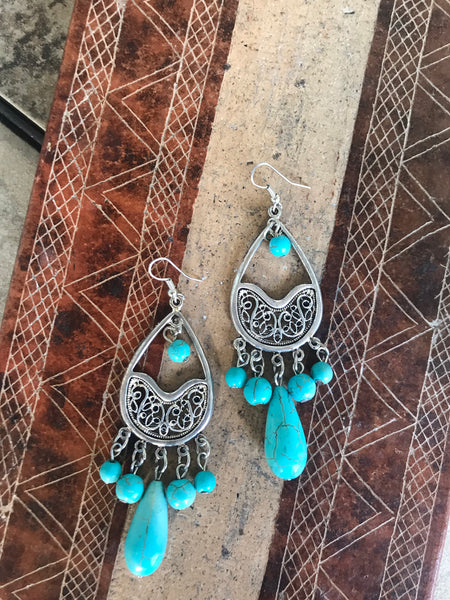 Turquoise Beaded Silver Earrings