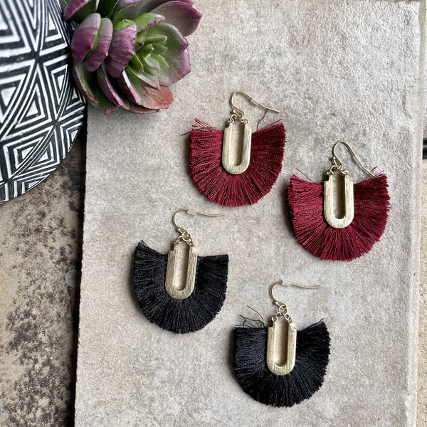 U-SHAPED FRINGE EARRINGS