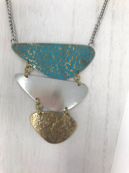 Three Tone Distressed Metal Necklace