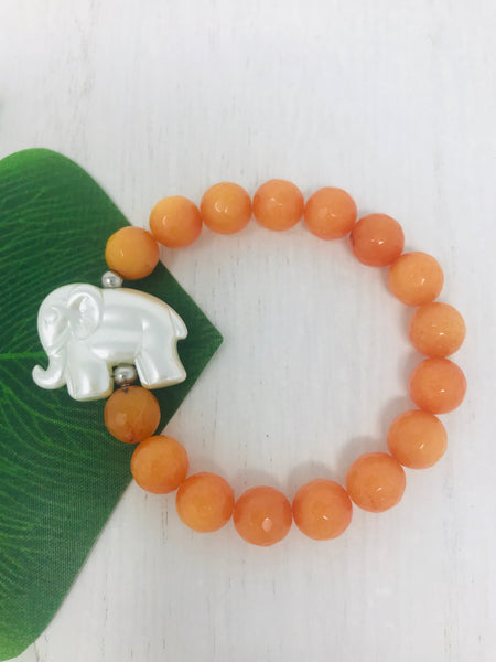 White Elephant Charm Beaded Bracelet