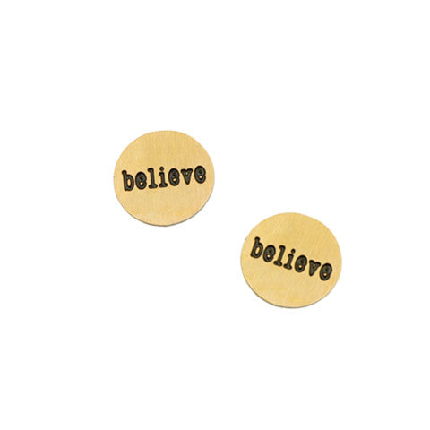 """BELIEVE"" INSCRIPTION PETITE GOLD STAINLESS STEEL LOCKET PLATE - Statelight"