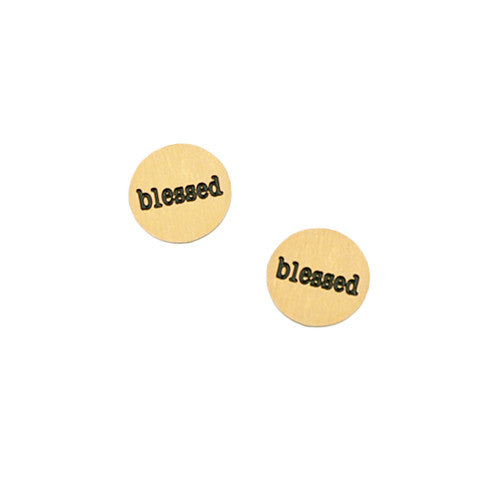 """BLESSED"" INSCRIPTION PETITE GOLD STAINLESS STEEL LOCKET PLATE - Statelight"