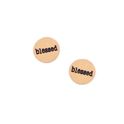 """BLESSED"" INSCRIPTION PETITE ROSE GOLD STAINLESS STEEL LOCKET PLATE - Statelight"