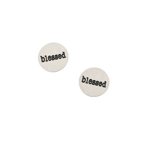 """BLESSED"" INSCRIPTION PETITE SILVER STAINLESS STEEL LOCKET PLATE - Statelight"