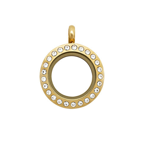 PETITE GOLD STAINLESS STEEL POLARITY ROUND LOCKET WITH CRYSTALS - Statelight