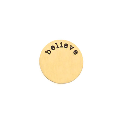 """BELIEVE"" INSCRIPTION LARGE GOLD STAINLESS STEEL LOCKET PLATE - Statelight"