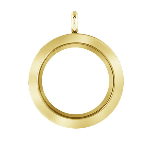 LARGE GOLD STAINLESS STEEL POLARITY ROUND LOCKET - Statelight