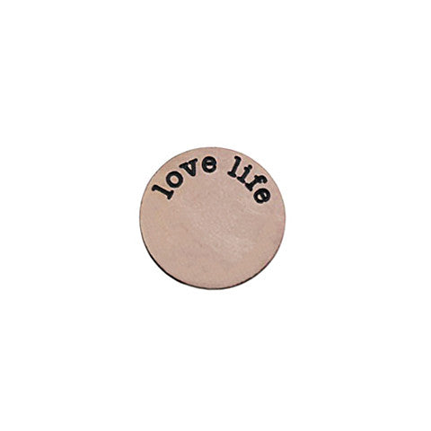 """LOVE LIFE"" INSCRIPTION LARGE ROSE GOLD STAINLESS STEEL LOCKET PLATE - Statelight"