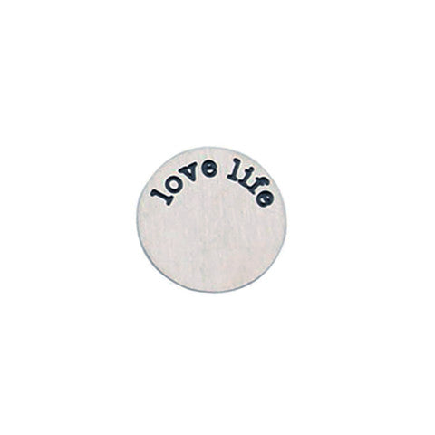 """LOVE LIFE"" INSCRIPTION LARGE SILVER STAINLESS STEEL LOCKET PLATE - Statelight"