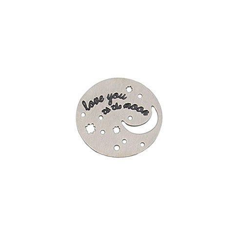 """LOVE YOU TO THE MOON"" INSCRIPTION LARGE SILVER STAINLESS STEEL LOCKET PLATE - Statelight"