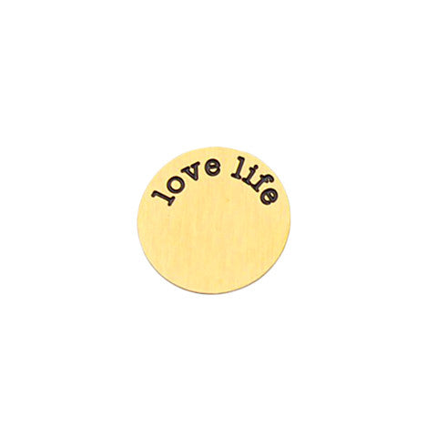 """LOVE LIFE"" INSCRIPTION LARGE GOLD STAINLESS STEEL LOCKET PLATE - Statelight"
