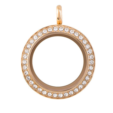 LARGE ROSE GOLD STAINLESS STEEL POLARITY ROUND LOCKET WITH CRYSTALS - Statelight