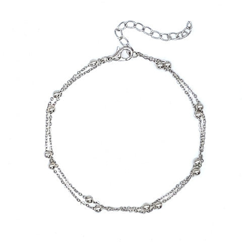 MISHA DOUBLE CHAIN SILVER ANKLET - Statelight