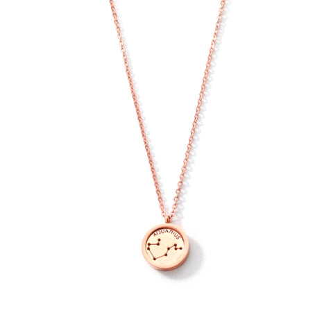 AQUARIUS ROUND PENDANT ROSE GOLD NECKLACE in Stainless Steel - Statelight