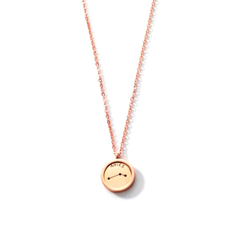 ARIES ROUND PENDANT ROSE GOLD NECKLACE in Stainless Steel - Statelight