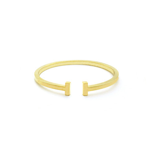 LEONA T-BAR GOLD CUFF in Stainless Steel - Statelight