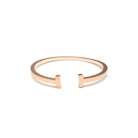 LEONA T-BAR ROSE GOLD CUFF in Stainless Steel - Statelight
