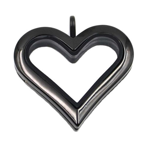 BLACK STAINLESS STEEL POLARITY HEART LOCKET - Statelight