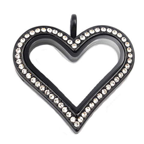 BLACK STAINLESS STEEL POLARITY HEART LOCKET WITH CRYSTALS - Statelight