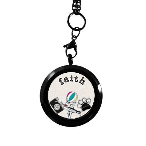 MEDIUM BLACK STAINLESS STEEL POLARITY ROUND LOCKET - Statelight